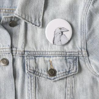 button badge - raven on white