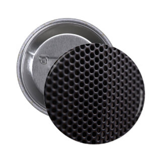Button: Black metal speaker grille net 2 Inch Round Button