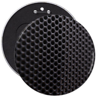 Button: Black metal speaker grille net 6 Inch Round Button