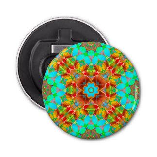 Button Bottle Opener Floral Fractal Art G410