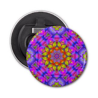 Button Bottle Opener Floral Fractal Art G445