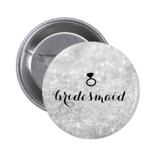 Button - Bridesmaid Glitter Ring Bling Silver