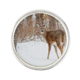 Button Buck Deer in Winter White Snowy Field Lapel Pin