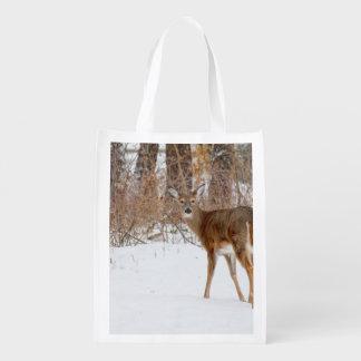 Button Buck Deer in Winter White Snowy Field Market Tote