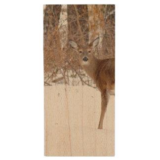 Button Buck Deer in Winter White Snowy Field Wood USB 2.0 Flash Drive