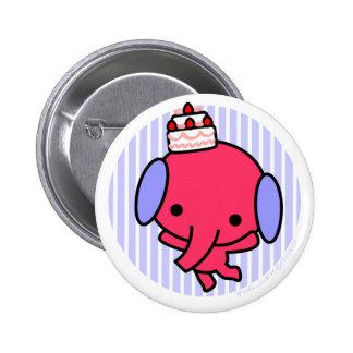 Button - Cake Elephant - Blue Stripes