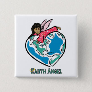 "Button: ""Earth Angel"" (b) 2 Inch Square Button"