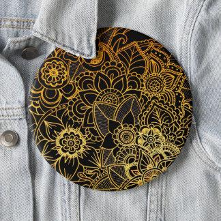 Button Floral Doodle Gold G523