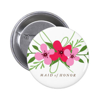 Button - Floral Maid of Honor
