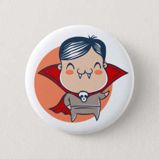 Button for Halloween with vampire. Dracula