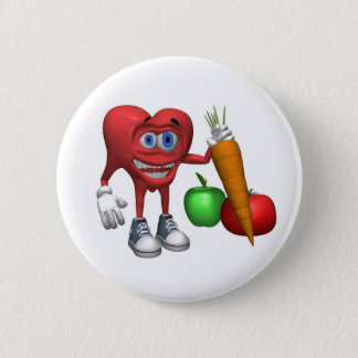 Button-Health Heart Fruits and Veggies 2 Inch Round Button