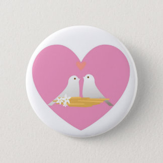 Button-Heart Love Doves 2 Inch Round Button