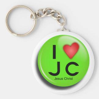 button jesus green keychain