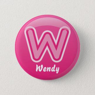 Button Letter W Pink Bubble