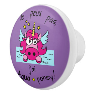 "Button of door ""Unicorn, Aquaponey "" Ceramic Knob"