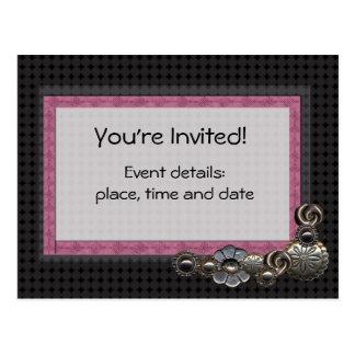 Button party invitation postcard