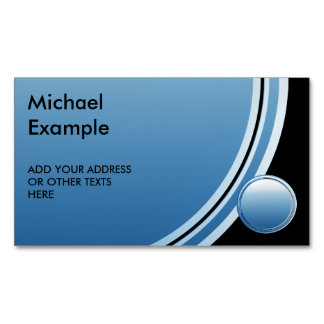 Button round blue gradients + your backg. & text Magnetic business card