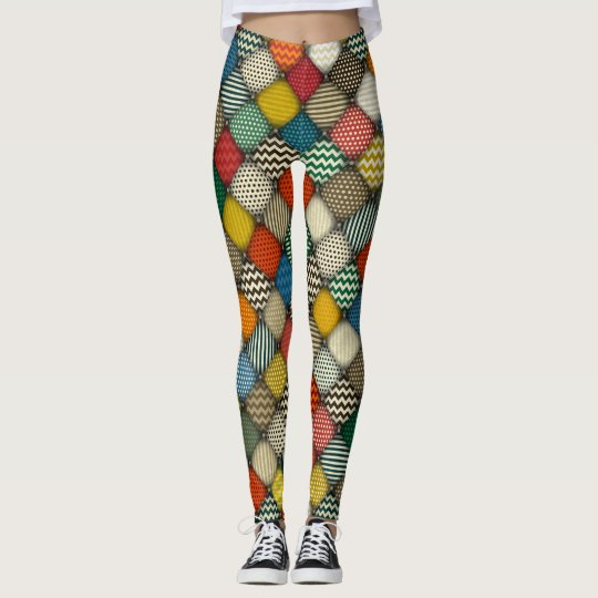 buttoned patches retro leggings