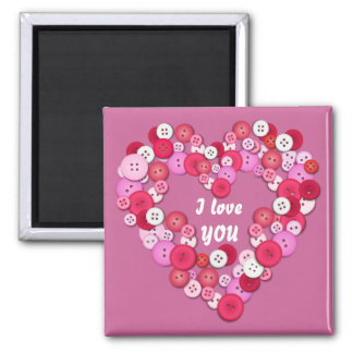 Buttonised heart square magnet