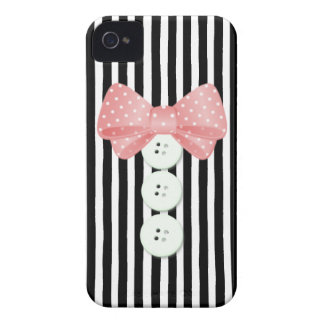 Buttons & Bows in Pink & Black iPhone 4 Case