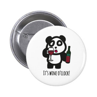 Buttons - Drinking Panda - It's wine o'clock!