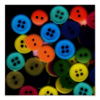 BUTTONS! Whimsical Art Print