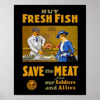 Buy Fresh Fish Vintage WW1 Poster