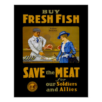 Buy Fresh Fish Vintage WW1 Retro Patriotic Poster