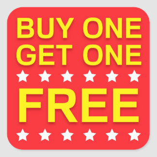 Buy one get one free, red yellow retail stickers