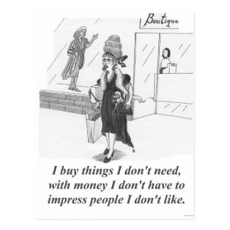 Buying Things, Shopping Lady Postcard