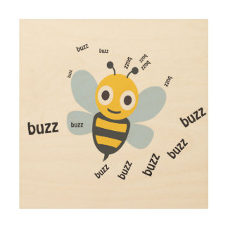 Buzz Bee Cute Emoji Wood Print
