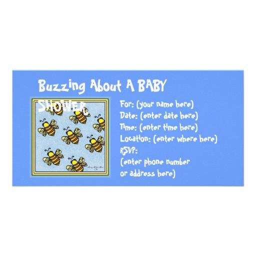 Buzz Buzz Baby Shower Customized Photo Card
