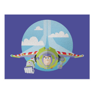 Buzz Lightyear Flying Despeckled Retro Graphic Postcard