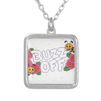 Buzz Off Silver Plated Necklace