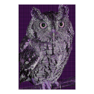 Buzz the Owl (purple dither pattern) Print