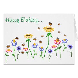 BuzzAboutBees Happy Birthday Bee Garden Greeting Card