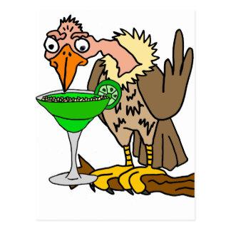 Buzzard drôle ou margarita potable de vautour carte postale