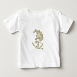Buzzard Perching Navy Anchor Cartoon Baby T-Shirt
