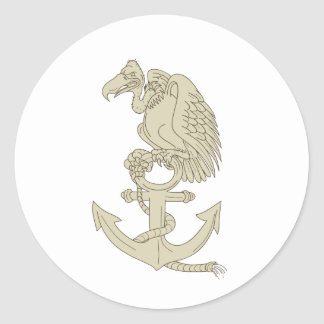 Buzzard Perching Navy Anchor Cartoon Classic Round Sticker