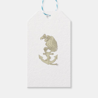 Buzzard Perching Navy Anchor Cartoon Gift Tags