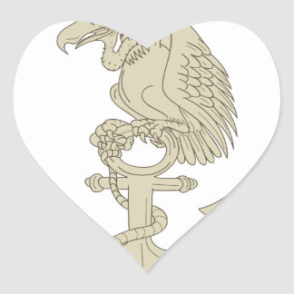 Buzzard Perching Navy Anchor Cartoon Heart Sticker