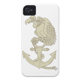 Buzzard Perching Navy Anchor Cartoon iPhone 4 Covers