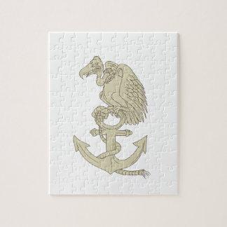 Buzzard Perching Navy Anchor Cartoon Jigsaw Puzzle