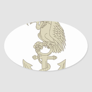Buzzard Perching Navy Anchor Cartoon Oval Sticker