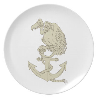Buzzard Perching Navy Anchor Cartoon Plate