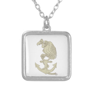 Buzzard Perching Navy Anchor Cartoon Silver Plated Necklace