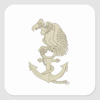 Buzzard Perching Navy Anchor Cartoon Square Sticker