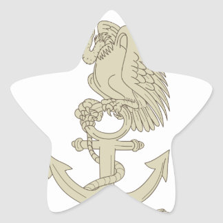 Buzzard Perching Navy Anchor Cartoon Star Sticker