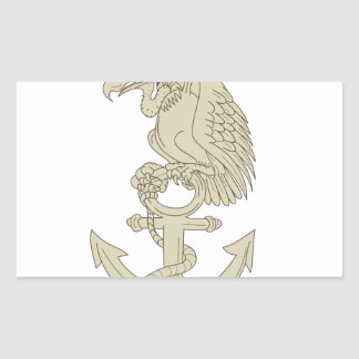 Buzzard Perching Navy Anchor Cartoon Sticker