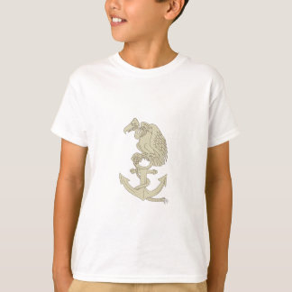 Buzzard Perching Navy Anchor Cartoon T-Shirt